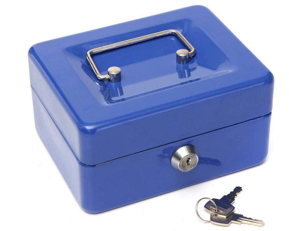 Caja metálica de seguridad para dinero en efectivo, color azul, 125 mm x 95 mm x 60 mm: Amazon.es: Oficina y papelería