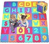 Sxfcool 36-teilige alphanumerische Kinder-Puzzle-Blase Eva-Puzzle-Matte Kinder-Schaum-Puzzle-Boden-Game-Pad mit Form, Farbe oder Zahlen und Buchstaben -