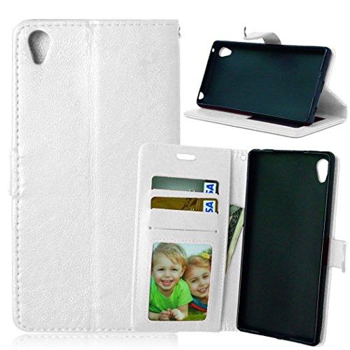 Funda Sony Xperia Z3+ Z3 Plus / Z4 E6553,Bookstyle 3 Card Slot PU Cuero Cartera para TPU Silicone Case Cover-Blanco