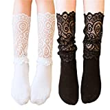 Lace Socks, 2 Pairs Women Girls High Knee Socks with Ruffle Flower Lace White Black Socks (Adult)