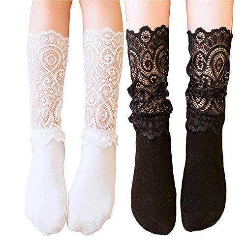 Lace Socks, 2 Pairs Women Girls High Knee Socks with Ruffle Flower Lace White Black Socks (Adult)