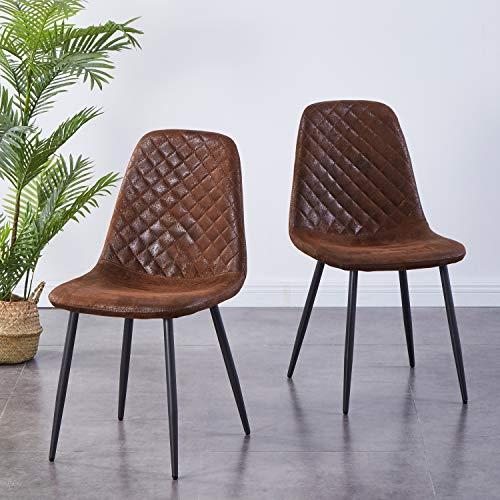 Greneric 2er Set Esszimmerstühle Wohnzimmerstuhl Sessel mit Rückenlehne Sessel Stuhl Scandinavian Vintage Künstlich Wildledersitz mit Stahlbeinen in Schwarz (Braun 02, 2)