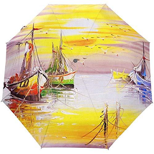 Ölgemälde Vintage Segelboot Meer Ozean Sonnenuntergang Auto öffnen schließen Sonne Regen Regenschirm