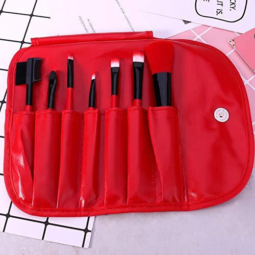 GUANGUA 7pcs / Set Pinceau de Maquillage Rouge avec étui en Cuir Souple Fibre synthétique Blush Fard à paupières Pinceau de Maquillage pour Les lèvres (débutant)