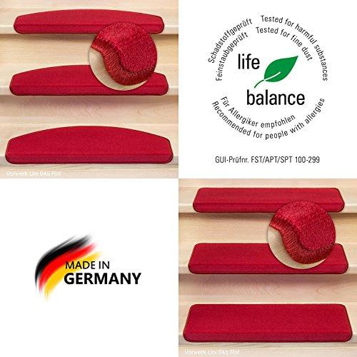 Kettelservice-Metzker® Stufenmatten Vorwerk Uni Einzeln und Sparset's Rot 1 Stück Rechteckig