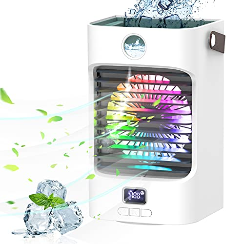 Fterwk Portable Air Conditioner Mini Personal Cooler Fan 120°Auto Oscillation Rechargeable 3 Wind Speeds 7 Colors Night Light Air Cooler Mist Humidifier with Handle for Office/Room/Dorm/Outdoor
