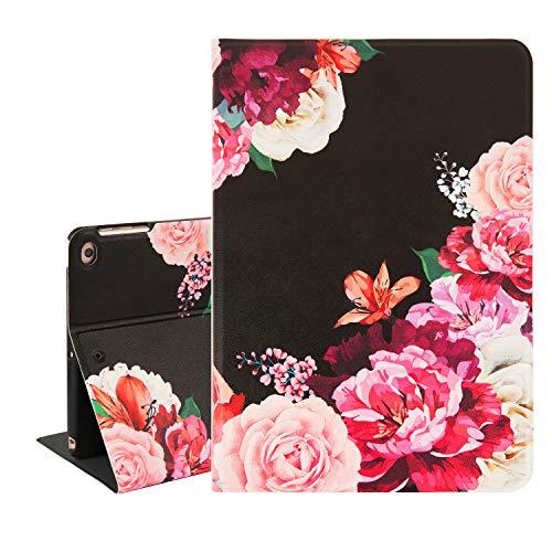 Hepix Pink Purple Flowers iPad Mini 5 Case Floral iPad Mini 4 Case for Girls Women, PU Leather Protective iPad Mini Cover Auto Sleep/Wake Multi-Angle