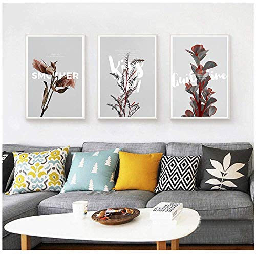 RuiChuangKeJi Nordic Canvas Art Painting Home Decor Wall Art Poster Living Room Print Flower Branch Plant Picture Letter Painting 3 x 50 x 70 cm Geen Frame
