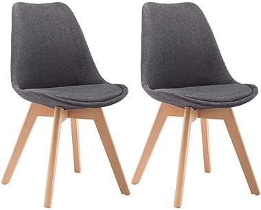 vidaXL Dining Chairs 2 pcs Dark Grey Fabric
