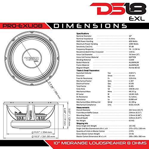 "DS18 PRO-EXL108 Loudspeaker - 10"", Midrange, Red Aluminum Bullet, 1000W Max, 600W RMS, 8 Ohms, Ferrite Magnet - For the Peple Who Live and Breathe Car Audio (1 Speaker)"