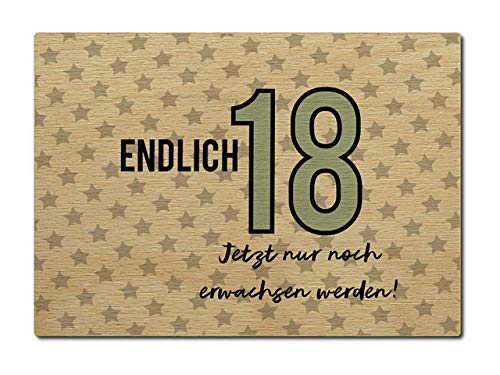 Interluxe houten briefkaart Eindige 18 tiener kaart volle jaar verjaardag groet