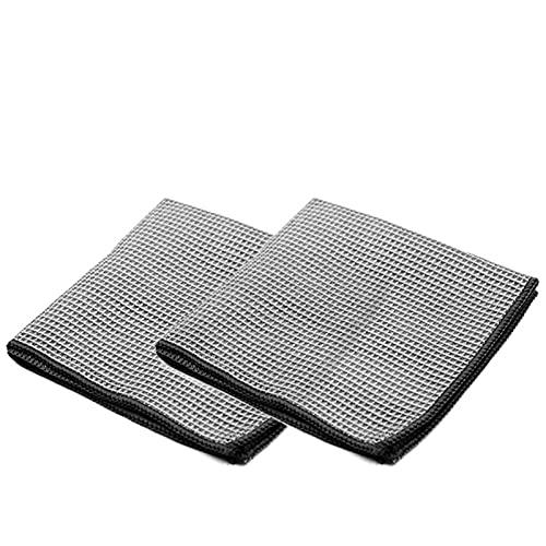 HONGGE 2 Piezas de Lavado de Coches Toalla de Vidrio Limpieza de Agua Secado de Agua Microfibra Ventana Limpie Auto Detalle Detalle Waffle Weave para baño de Cocina 40 * 40 cm (Color : Gris)