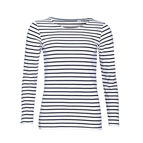SOLS - Camiseta de manga larga con estampado de rayas modelo Marine para mujer (Mediana (M)/Blanco/Azul marino)