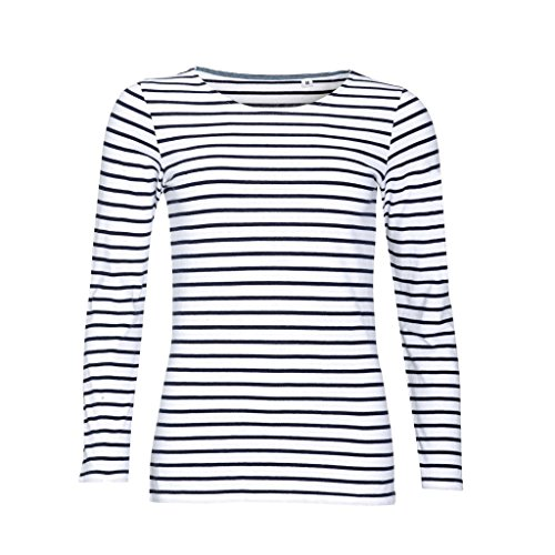 Sols Damen Marine T-Shirt, gestreift, langärmlig (L) (Weiß/Marineblau)