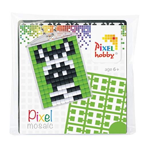 Pixel P23013 Mosaik Medaillon Zebra, Schlüsselanhänger für Kinder zum Selbstgestalten, kinderleichtes Stecksystem, ohne Bügeln und Kleben, Steinchen aus Biokunststoff