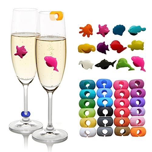 MHwan segna bicchiere, segna bicchieri colorati, 34 pezzi Marcatori per bicchieri da vino riutilizzabili Marcatori per bevande resistenti al calore per decorazioni da bar per feste