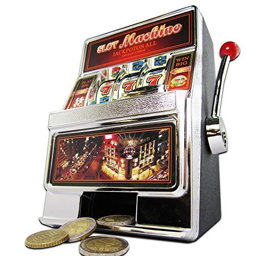 Monsterzeug 2in1 Slot Machine und Spardose, Einarmiger Bandit, Spielautomat mit Sound und Licht, Kreative Verpackung für Geldgeschenke