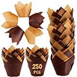 Baking Cups Cupcake Wrappers Set - 250 Pcs Brown Greaseproof Tulip Paper Cake Tin Liners and Natural Color Tulip Baking Parchment Papers for Muffins Cupcakes Mini Snacks Wedding Birthday Party