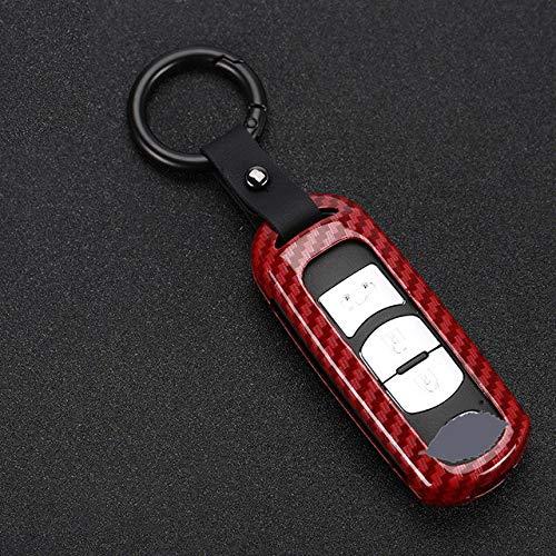 XUEYAN521 Autoschlüssel Fall Zinklegierung Classic Mature Auto Schlüsselhülle Abdeckung für Mazda CX-3 CX-4 CX-5 CX-7 CX-9 Atenza Axela MX5 Auto Schlüsselschale Schlüsselbund, A Carbon rot
