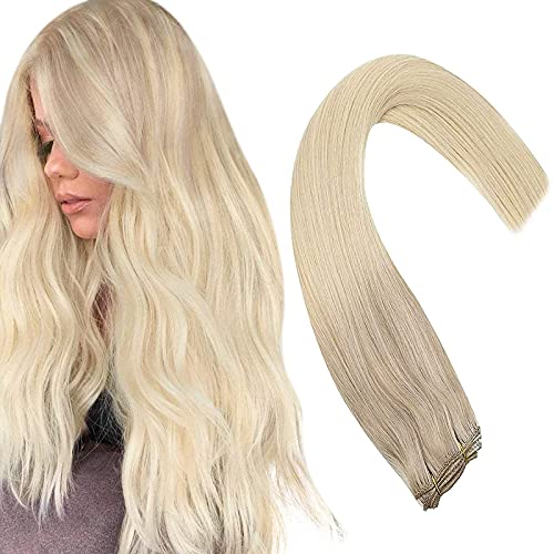 Sunny Sew in Weft Hair Extensions 16inch Platinum Blonde Human Hair Straight Remy Weft Hair Extensions Balayage Ash Blonde Real Weft Human Hair One Bundle 100g/pack