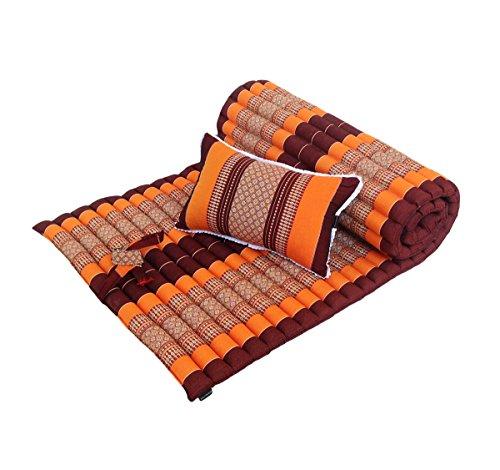 Colchón ortopédico tailandés de meditación tradicional de ceiba con almohada a juego para masaje de yoga o...