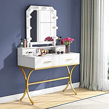 Tribesigns Vanity Table with Lighted Mirror Elegant Makeup Vanity Dressing Table with 10 Lights & 4 Drawers for Women and Girls Modern Make-up Dresser Table for Bedroom