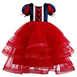 Snow White Dress for Girls Princess Fancy Dress up Christmas Halloween Costume Pageant Birthday Party Floor Length Long Maxi Dresses with Ruffle Tulle Skirt Kids Carnival Photo Cosplay Red 3-4 Years