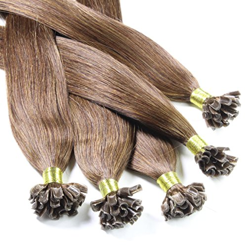 Just Beautiful Hair and Cosmetics Lot de 100 extensions de cheveux naturels Remy Hair avec points de kératine pour pose à chaud Marron (4) 60 cm