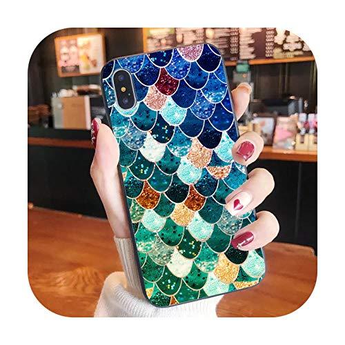 Sirena pez niña teléfono caso para iPhone XR X 8 7 6 plus moda lindo cubierta Apple XS 11 Pro Max SE2020-Mermaid4-iphone 6 6s