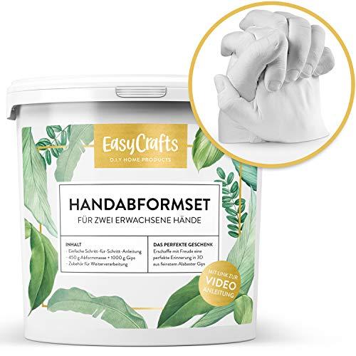EasyCrafts Handabdruck Set für Paare Natürliche Materialien | 3D Gipsabdruck für Zwei Erwachsene Hände | Für einzigartige Erinnerungen zur Hochzeit, Jahrestag, Weihnachten | Das DIY Geschenk