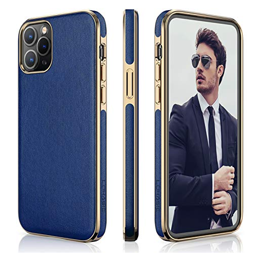 """LOHASIC Case Compatible with iPhone 12 Pro Max, Business Flexible PU Leather Classic Elegant Cover Soft Slim Anti Scratch Non-Slip Protective Phone Cases for iPhone 12 Pro Max(2020) 6.7"""" - Blue"""