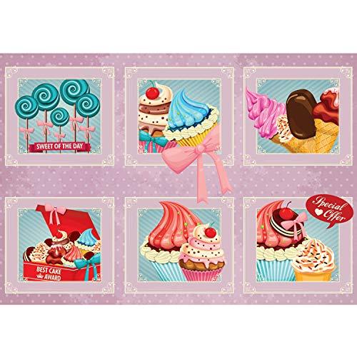 Vlies Fototapete PREMIUM PLUS Wand Foto Tapete Wand Bild Vliestapete - Kunst Bilderrahmen Eiscreme Donuts Cupcakes Lolli Süßware - no. 1501, Größe:254x184cm Vlies