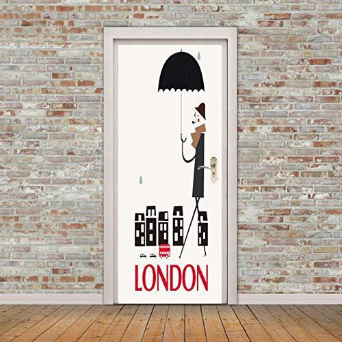 Fantxzcy türaufkleber New York London Paris Reisen 31.5x78.7 inch Tür Tapete Aufkleber Wandbild Poster 3d Foto selbstklebend wasserdicht Peel and Stick abnehmbare Vinylfolie für Wände Wohnzimmer