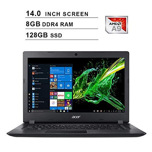 2020 Newest Acer Premium Aspire 3 14 Inch Laptop (AMD A9-9420e 1.8GHz up to 2.7GHz, 8GB DDR4 RAM, 128GB SSD, AMD Radeon R5, WiFi, Bluetooth, HDMI, Webcam, Windows 10 Home) (Black)