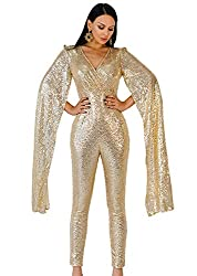 Gold Deep V Angel Wings Sequin Playsuit