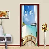 3DドアステッカーHdプリント屋内ドア壁画壁紙取り外し可能な自己接着ビニール壁デカールポスターDiyアーティスト家の装飾海辺の風景PVC壁画-88cmx200cm