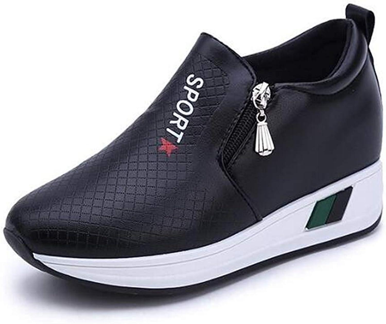Webb Perkin Women Height Increasing Walking Casual shoes Wedge High Heels shoes White Black Platform Sneakers