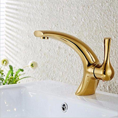 Sursy en cuivre Doré Chromé de salle de bain Lavabo Robinet de salle de bain évier robinet Creative simples Plaqué or seul trou froid et chaud robinet d'eau