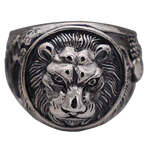 ZHIRCEKE Vintage Lion Head Ring Sterling Silver 925 for Man Woman Size,Silver,9