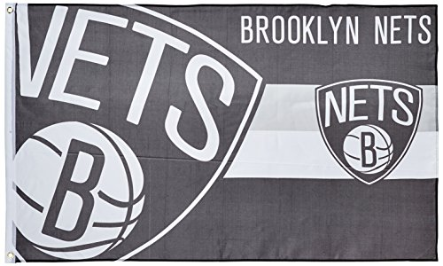 Forever Collectibles NBA Brooklyn Nets, Bandiera Basket, Nero