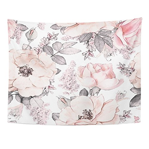 Emvency Tapestry Pink Grey Flowers and Leaves on Watercolor Floral Pattern Rose Home Decor Wall Hanging for Living Room Bedroom Dorm 60x80 Inches