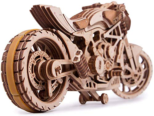 Wooden Mechanical Puzzles Model Kits for Adults and Kids to Build Safe Assembly 3D Wood Motorcycle Constructor with Rubber Band Motor