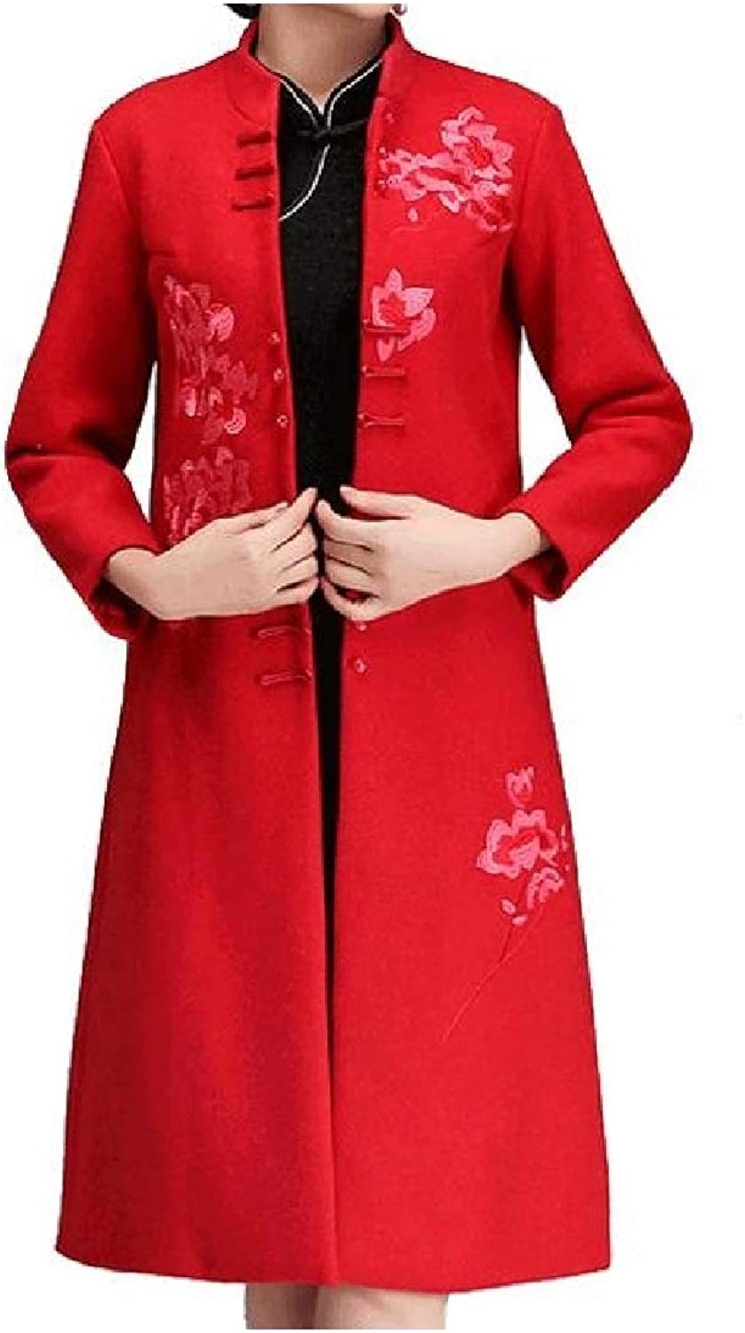 Vska Womens Wool Blend Stand up Collar Floral Embroidery Cheongsam Dust Coat