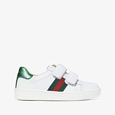 Gucci Kids New Ace V.L. Sneakers (Toddler) (White/Green) Kids Shoes