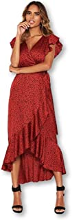 AX Paris Women's Spotty Frill Wrap Dress with D Ring Belt
