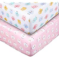 2-Pack UOMNY 100% Natural Cotton Crib Fitted Baby Sheets Set
