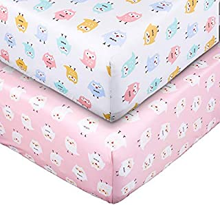 UOMNY Crib Sheet Set 100% Natural Cotton Fitted Crib Sheets Baby Sheet Set for Standard Crib and Toddler mattresses Nursery Bedding Sheet Crib Mattress Sheets for Boys and Girls 2 Pack(owl Pattern)