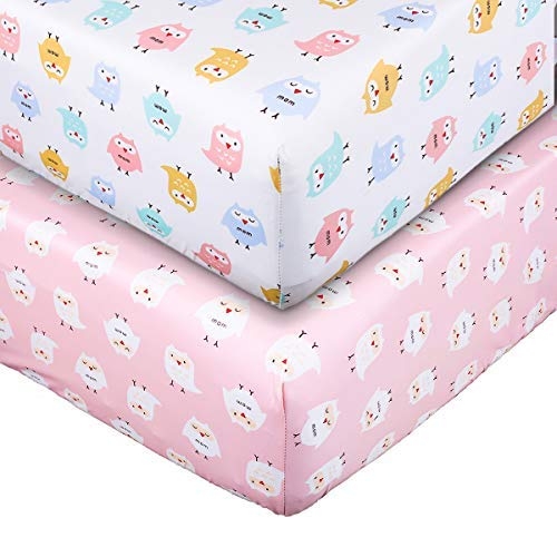Crib Sheet Toddler Sheet UOMNY 100% Cotton Baby Coverlet for Baby Girl and Baby Boy 2 Pack(Pink owl Pattern/White owl Pattern)