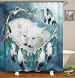 chenyuuu Love Dream Catcher Snow Fox Wunderschöner Duschvorhang, Wasserdicht, Schnell Trocknend, Lichtecht, Leicht Zu Reinigen, 12 Haken. 180X180Cm