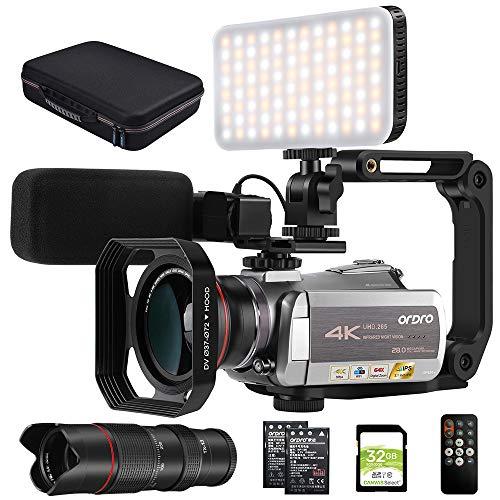 """ORDRO Videocámara 4K Ultra HD Cámara de Video Digital Grabador WiFi Visión Nocturna por Infrarrojos Pantalla Táctil IPS de 3.1""""con Micrófono Estéreo, luz de Video LED, Telescopio y Tarjeta SD de 64GB"""